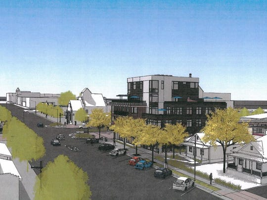 This rendering shows the proposed look of the Confluence development planned in Fort Collins' River District.