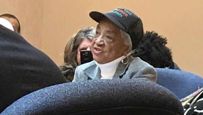 School activist Helen Moore addresses the Detroit Board of Education Thursday.