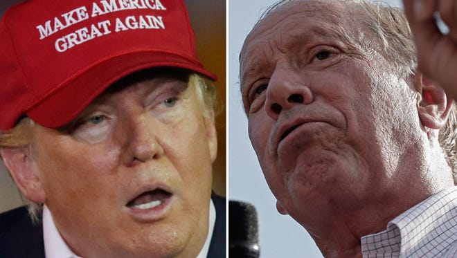 Republican candidates Donald Trump (left) and former New York Governor George Pataki