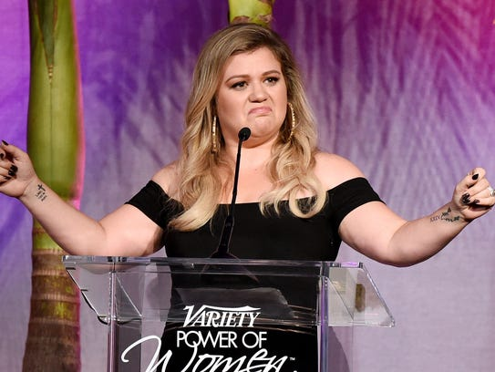 Kelly Clarkson gives big ups to Gal Gadot at Variety's Power of Women luncheon.
