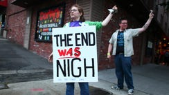Becky Friedman stands outside a rapture party, May