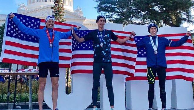 USA Marathon Championships winner Brogan Austin, center, on Sunday in Sacramento, Calif.
