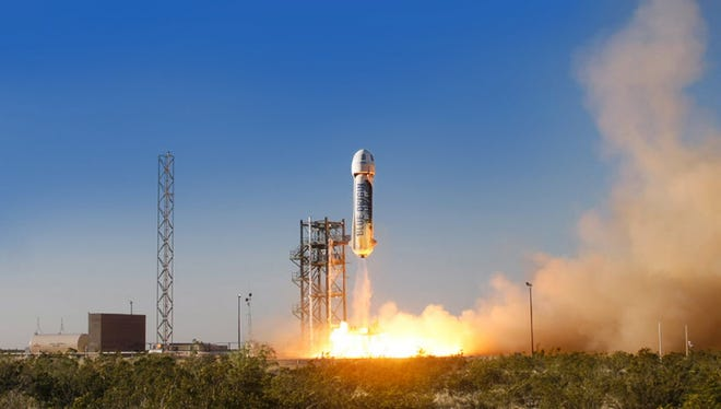 The New Shepard space vehicle developed by Blue Origin blasts off on its first developmental test flight in Texas on April 29, 2015, marking another development in the commercial space race, Blue Origin was founded by Amazon CEO Jeff Bezos.