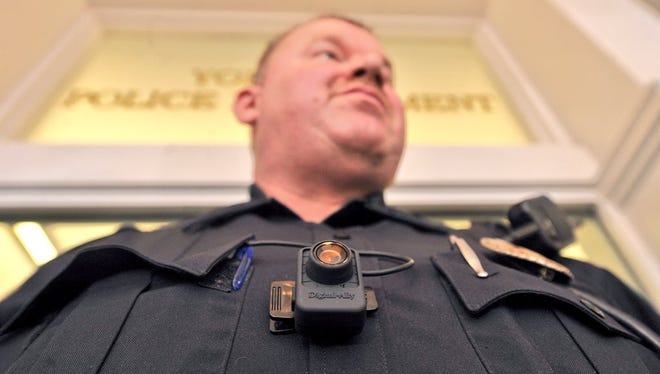York City Police Chief Wes Kahley speaks at a press conference on Tuesday, March 1, 2016 on the use of police body cameras.