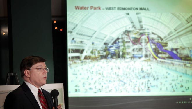 Triple Five executive Tony Armlin shows a rendering of the West Edmonton Mall water park. A similar attraction is planned at American Dream Meadowlands.