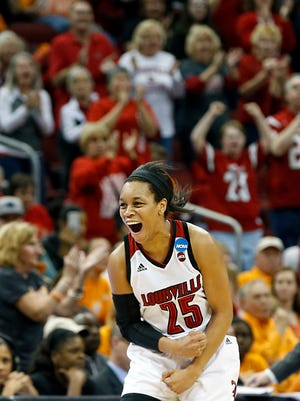 Louisville's Asia Durr celebrates after the Cards force a turnover. March 19, 2017