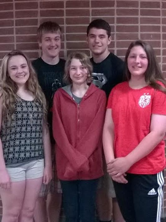 Team 3 Outstanding Students: The Team 3 Outstanding Students from Spring Grove Area Middle School are, front row, from left, Brooklyn Blymier, math and Spanish I; Denise Livengood, ELA; Grace Stiffler,  science; back row, Brian McGlynn, German I; and Logan Schaffer, social studies.