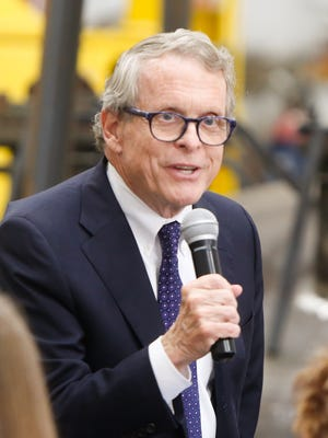 Ohio Attorney General Mike DeWine during a campaign event at Enerfab Inc. in Cincinnati Tuesday, June 27.