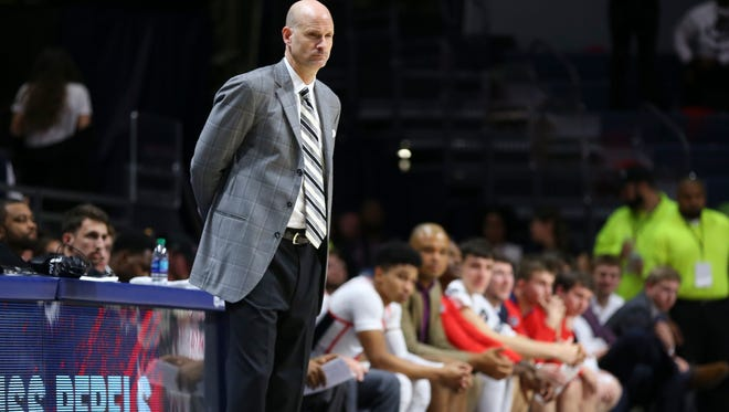 Jan 30, 2018; Oxford, MS, USA; Mississippi Rebels head coach Andy Kennedy during the second half against the Auburn Tigers at The Pavilion at Ole Miss. Auburn Tigers defeat the Mississippi Rebels 79-70.  Mandatory Credit: Spruce Derden-USA TODAY Sports