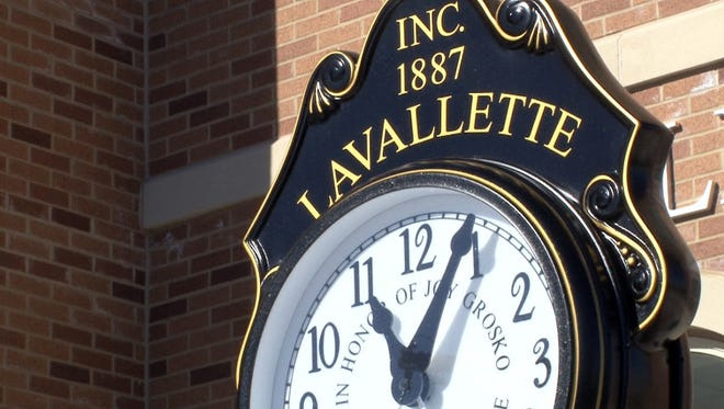 The new clock outside the Lavallette municipal building Monday, February 1, 2016.  The original builing was heavily damaged by Superstorm Sandy floodwaters.