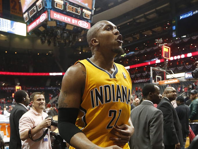 Indiana Pacers forward David West reacts as he leaves the court after Game 6 of a first-round NBA basketball playoff series against the Atlanta Hawks in Atlanta, Thursday, May 1, 2014. Indiana won 95-88. (AP Photo/John Bazemore)