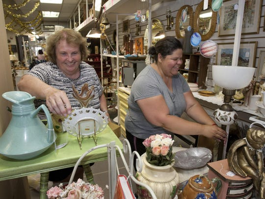 Jeanette Wall (left), North Plainfield, and Zina Canton, Woodbridge, own the antique business Do-Over! at the Honey Hole Antiques co-op in Keyport.