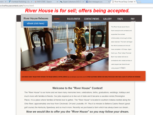 Home page for the River House contest notes the Southern