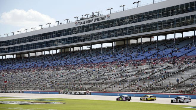 The grandstand is viewed at Texas Motor Speedway during a NASCAR Cup Series race in Fort Worth, Texas, on Sunday.