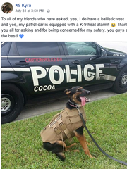 Catch up with Cocoa Police's newest recruit on Facebook.
