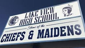 Lake View High School sign