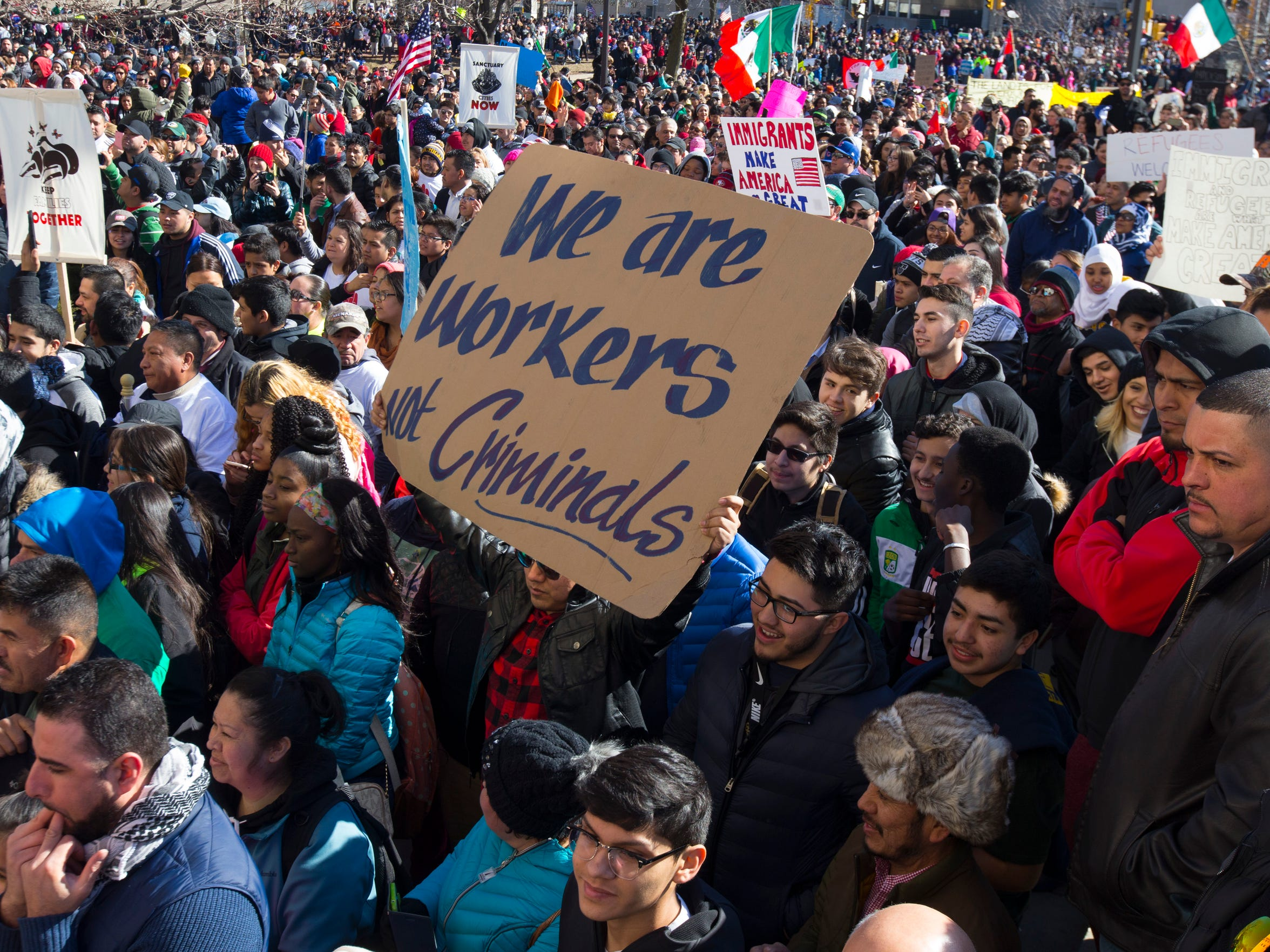 """Thousands of people take part in the """"Day Without Latinos,"""