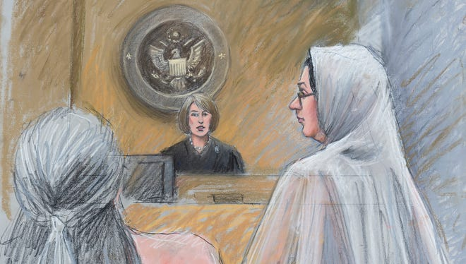 A courtroom sketch shows U.S. Magistrate Judge Mona Majzoub, center, and Dr. Jumana Nagarwala, right, recently in Detroit.