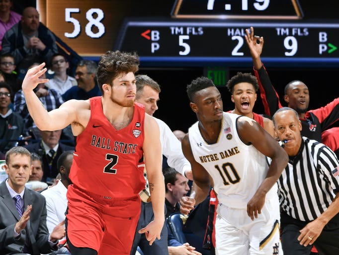 Dec 5, 2017; South Bend, IN, USA; Ball State Cardinals