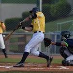 Richmond RiverRat Troy Paris swings the bat during a baseball game against Jamestown Wednesday, July 29, 2015, on John Cate Field at McBride Stadium.