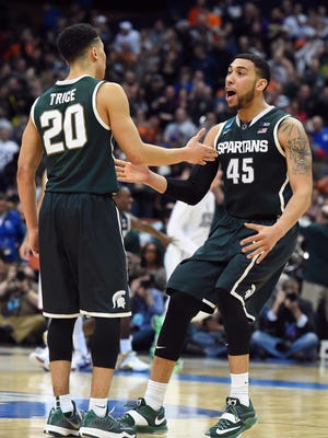 No. 7 Michigan State plays No. 4 Louisville in the Elight Eight on Sunday.