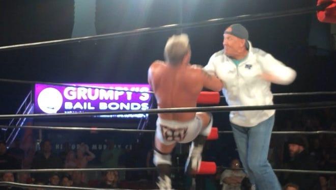 MTSU football coach Rick Stockstill hopped into the wrestling ring on Thursday.
