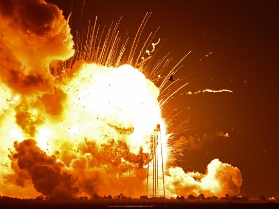 The Antares Rocket explodes on takeoff from Wallops