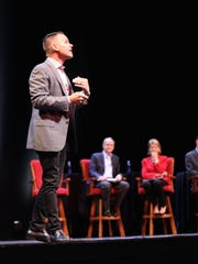 Kevin Harrington leads the proceedings at Thursday's