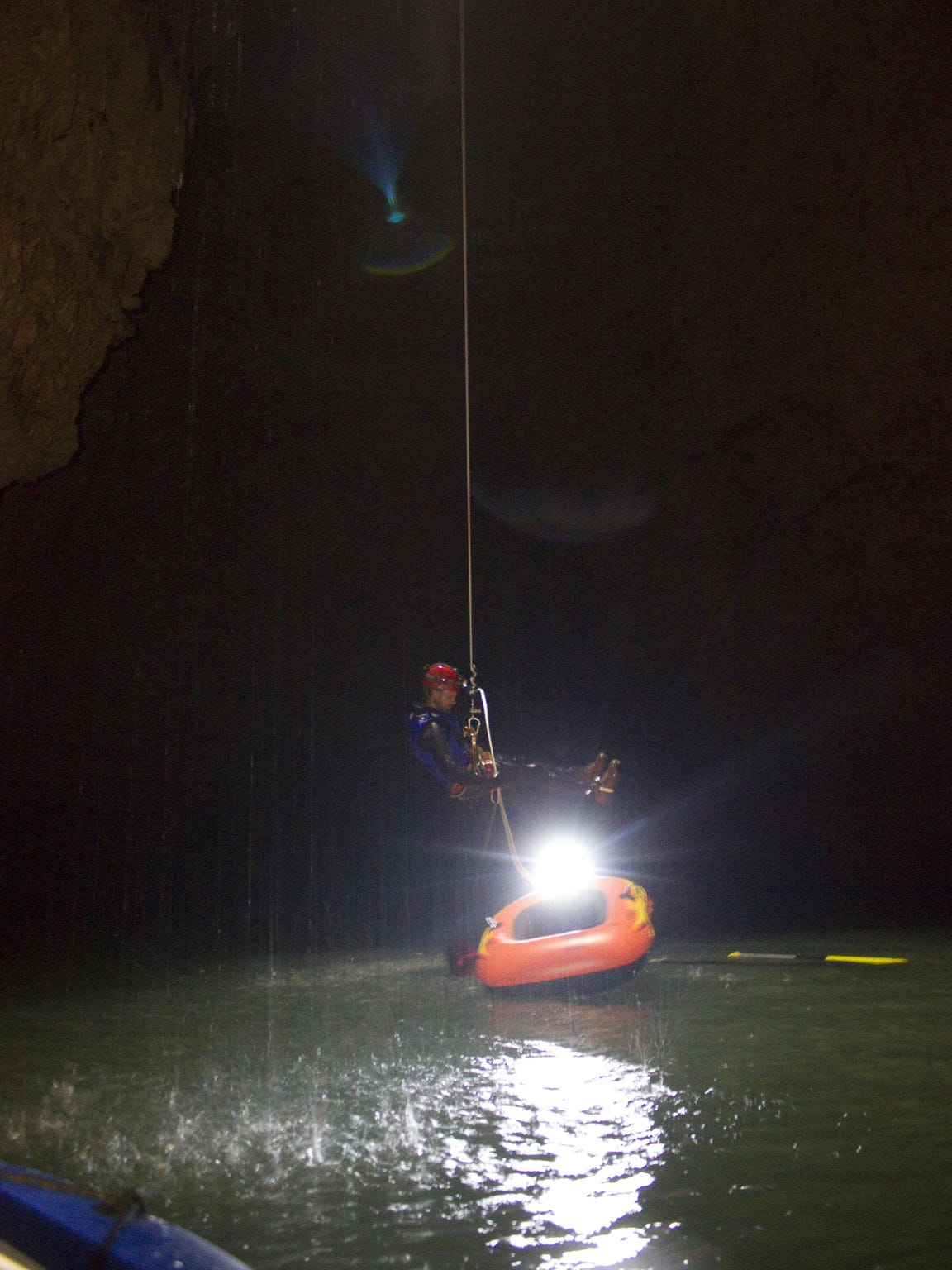 A Cave Research Foundation team member descends into