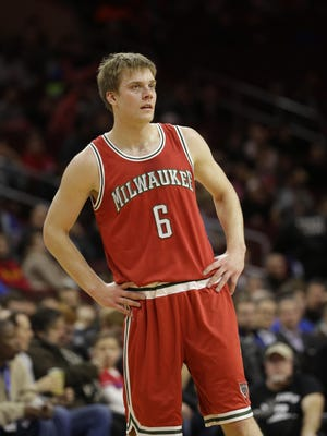 Former Milwaukee Bucks point guard Nate Wolters stands in action during an NBA game against the Philadelphia 76ers on Jan. 7 in Philadelphia.