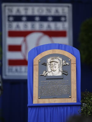 Ken Griffey Jr.'s plaque started as sculpted clay in Tom Tsuchiya's Cincinnati studio. The local artist created the bronze two-dimensional portraits featured on Griffey's and Mike Piazza's National Baseball Hall of Fame plaques.