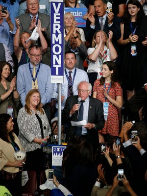 Sen. Bernie Sanders speaks after Vermont votes were announced during roll call at the 2016 Democratic National Convention at Wells Fargo Arena.
