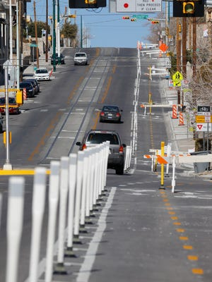 As part of the El Paso Streetcar Project, the CRRMA installed the El Paso region's first two-way protected bikeway along Stanton Street. Reflective delineator, raised pavement markings and special signs and striping will help ensure motorists are aware of increased bike activity in the area.