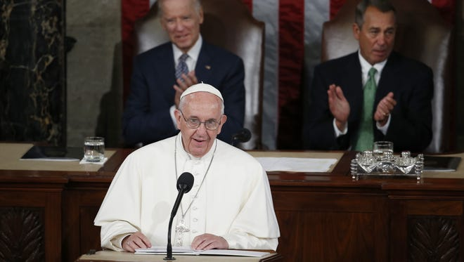 Pope Francis addresses a joint meeting of Congress on Capitol Hill in Washington, D.C., on Thursday, making history as the first pontiff to do so.