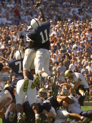 Remember this moment from Pitt's last trip to Beaver Stadium? Penn State's Lavar Arrington (11) blocked a field goal try in the final minute of the fourth quarter.