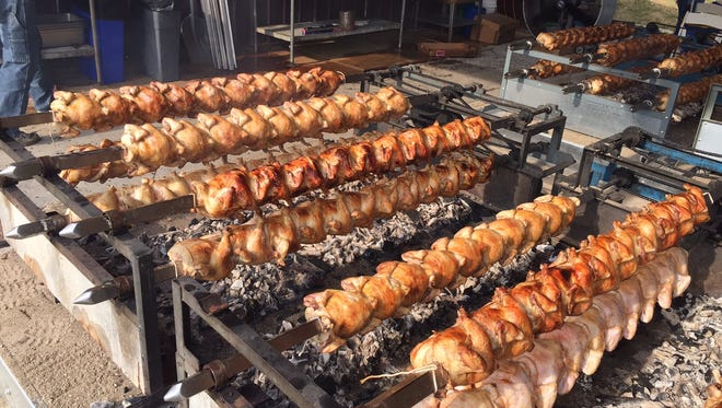Chickens roasting, Germania Society style.