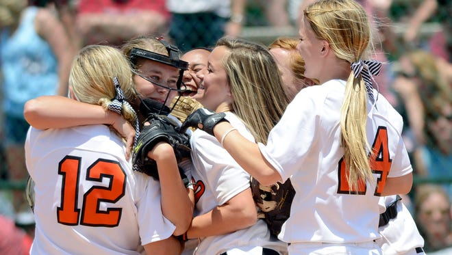 Alexandria players celebrate after defeating Alabama Christian during the AHSAA state softball tournament at Lagoon Park on Saturday, May 17, 2014.