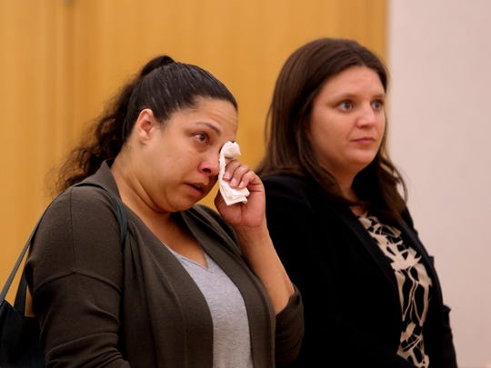 Michelle Bonet cries as she is sentenced in Westchester County Court on Aug. 3, 2017 for the killing of an elderly couple while driving while drunk in Hartsdale in October, 2017. Bonet had plead guilty to aggravated vehicular homicide and other charges in the case in which Carmelo Sbezzi, 80, of Sleepy Hollow and his wife Henrietta, 82, both died.