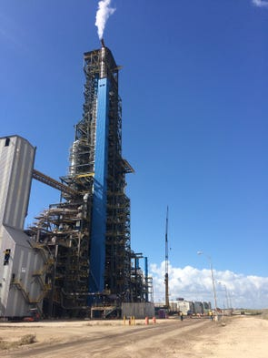 The main tower at the Voestalpine Texas plant near