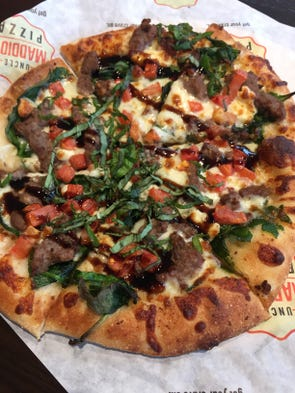 The Steak and Blue pizza at Uncle Maddio's has grilled