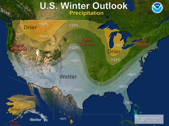 The National Climate Prediction Center outlook for precipitation for this winter.