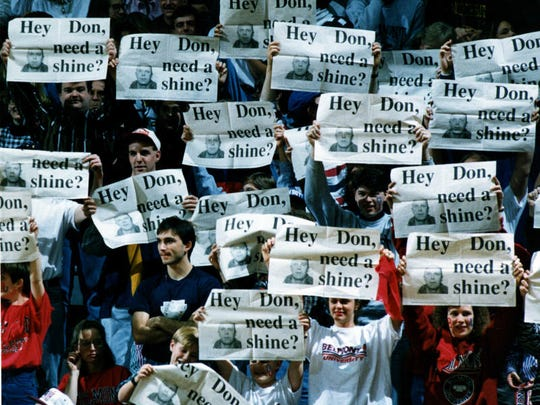 Belmont fans send a printed message to Lipscomb Coach Don Meyer, but he had the last laugh with a 100-72 victory in 1993.