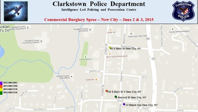 A map showing the five businesses reported burglarized on June 2-3 in the New City business district.