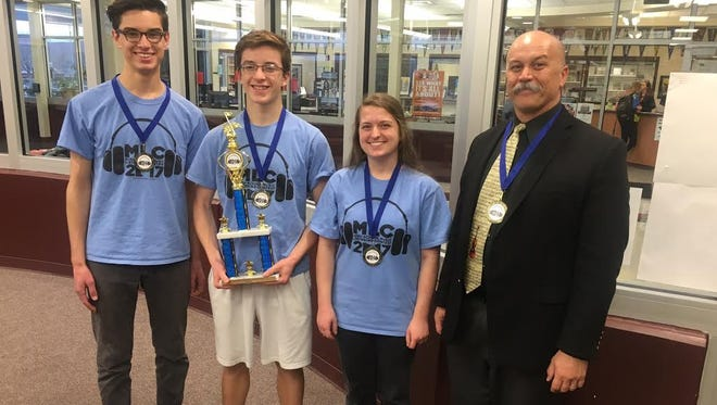 Pine View High School students and their coach, Ed Candland, win the Minnesota Music Listening Contest on Feb. 3, 2017.
