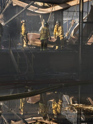 Firefighters from Tulare County, Exeter, Farmersville, Woodlake and Visalia responded Thursday, June 30, 2016 about 4:30 p.m. to a structure fire at the vacant Nash De Camp packing house in Exeter. Three firefighters were transported to the hospital with burns and heat exhaustion.