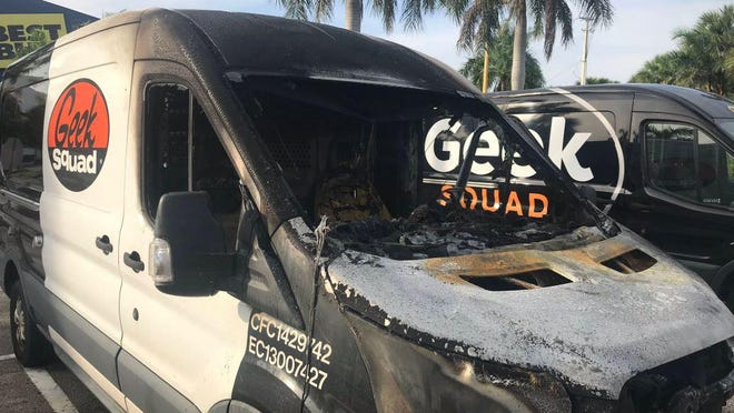 A Geek Squad van was set on fire outside the Best Buy store in West Palm Beach on Sunday, May 31, 2020, during protests regarding the death of George Floyd.