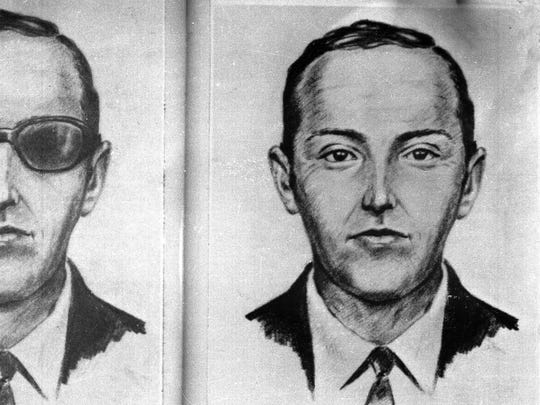 """FILE - This 1971 artist's sketch provided by the FBI shows the skyjacker known as """"Dan Cooper,"""" or """"D.B. Cooper,"""" made from the recollections of passengers and crew of a Northwest Orient Airlines jet he hijacked between Portland and Seattle on Nov. 24, 1971, Thanksgiving eve. Marla Cooper of Oklahoma City, who was 8 years old at the time of the hijacking, told ABC News in an interview broadcast Wednesday, Aug. 3, 2011 that she is certain her uncle Lynn Doyle Cooper leaped from a Northwest Orient plane not far from her grandmother's home in Sisters, Ore. (AP Photo/FBI, File)"""