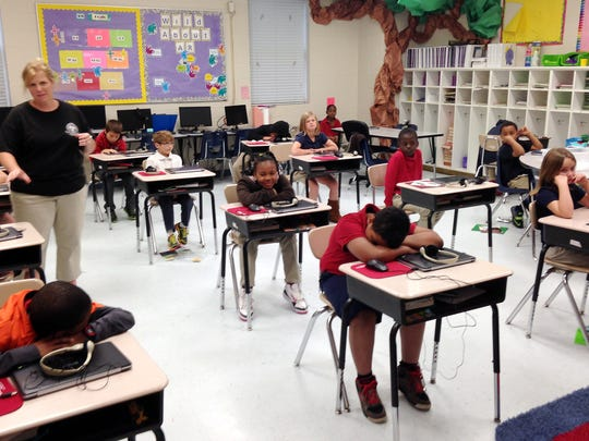 Third graders finish up their reading test in 2015 in Pascagoula, Miss.