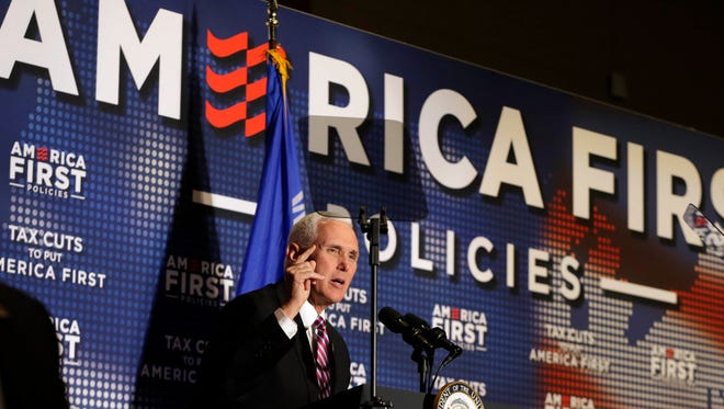 Vice President Mike Pence tries to bolster public support for the Republican tax overhaul and raise campaign cash for Gov. Scott Walker at an event sponsored by America First Policies, a pro-Donald Trump group on April 25, 2018.