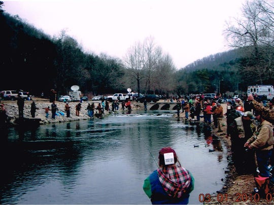 A part of the crowd on a March 1 opening day of the trout season at Roaring River.